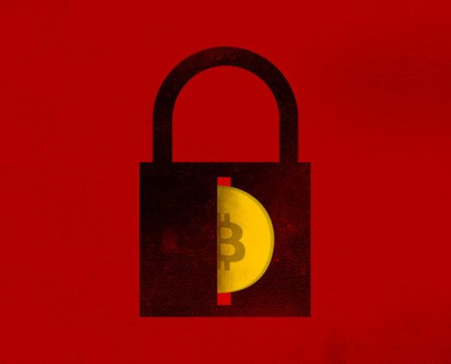 Ransomware bitcoin image with red background