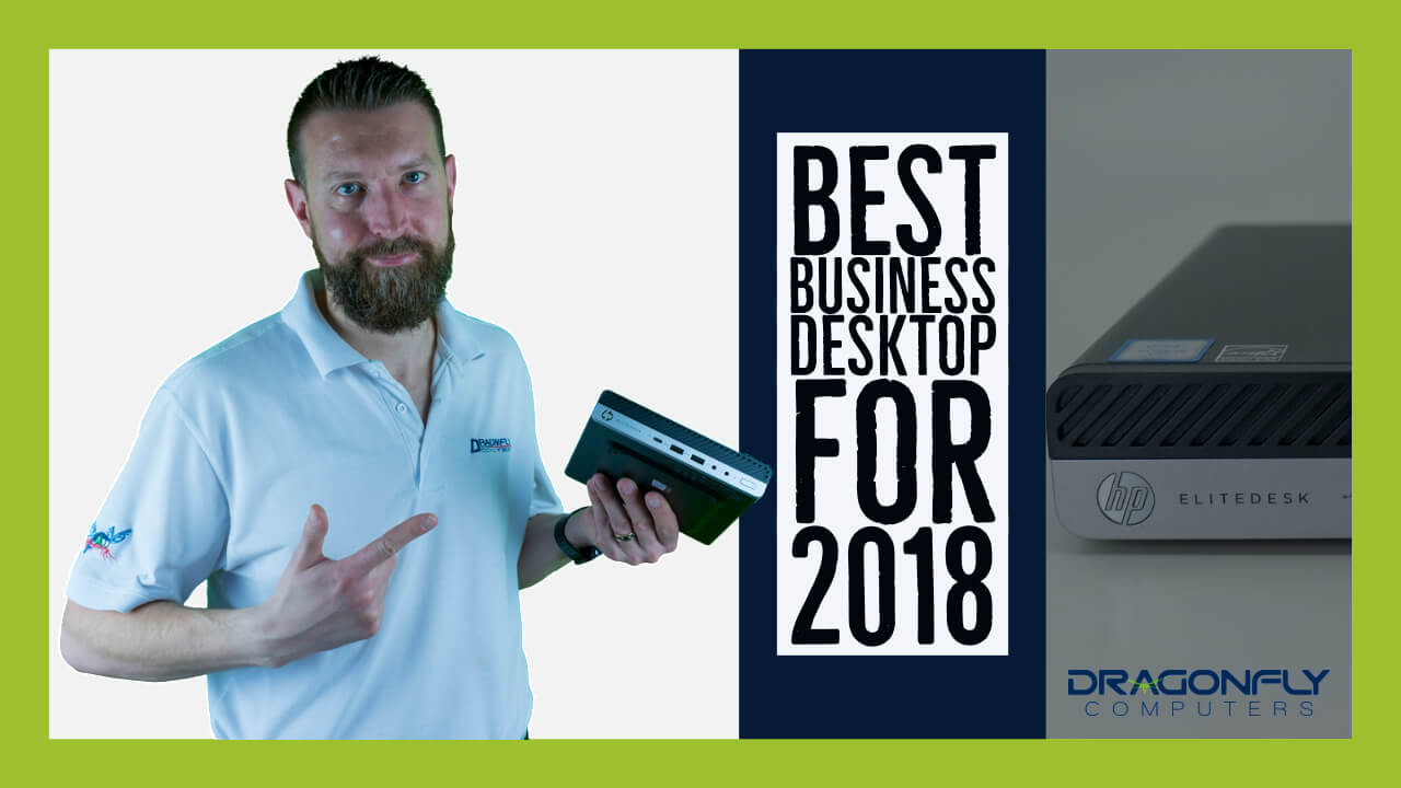 man holding hp elitedesk mini with best desktop for 2018 text